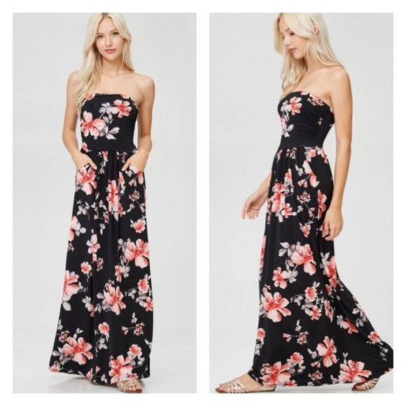 18ec01ef1f Black Tropical Floral Tube Top Maxi Dress